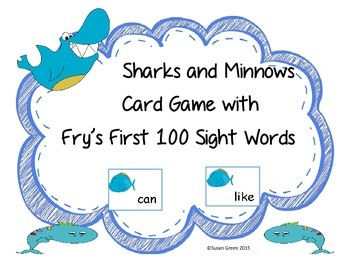 Sharks and Minnows Card Game with Fry's First 100 Sight Words