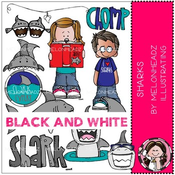 Sharks clip art - BLACK AND WHITE - by Melonheadz