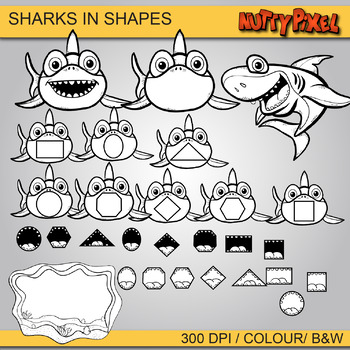 Sharks in Shapes - Shapes Clip art