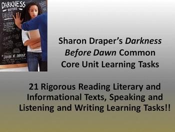 """Sharon Draper's """"Darkness Before Dawn"""" - 21 Common Core Le"""