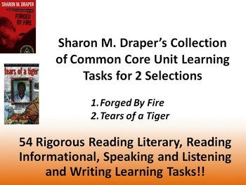 """Sharon Draper's """"Tears of a Tiger"""" and """"Forged by Fire"""" – Common Core Tasks!!"""