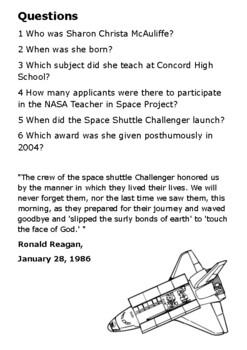 Sharon McAuliffe - The Challenger Disaster Handout