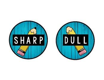 Sharp Dull Pencil & Eraser Labels (RUSTIC BLUE WOOD)