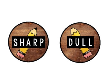 Sharp Dull Pencil & Eraser Labels (Wood Theme)