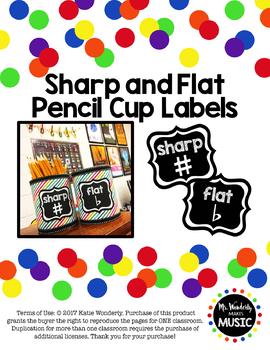 Sharp & Flat Pencil Cup Labels