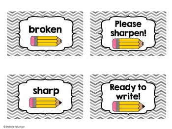 Pencil Labels for the Classroom