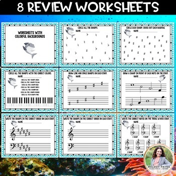 Week! 8 Sharps Review Worksheets for Elementary Music Students