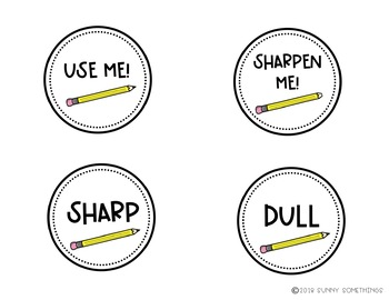Sharp and Dull Pencil Bucket Signs