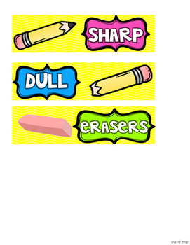 Sharp and Dull Pencil Drawer Labels