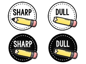 Free Sharp and Dull Pencil Labels