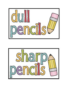 Sharp and Dull Pencil Labels Free!