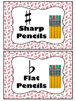 Sharp and Flat Labels for Pencil Containers