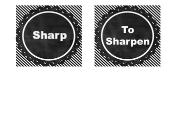 Sharp and To Sharpen Pencil Signs Black and White *FREEBIE