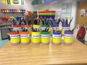 Sharpend Unsharpened Pencils Labeling Cards Bins Labels &