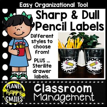 Sharpened & Unsharpened Pencils or Sharp & Broken ~ Polka Dot Black/White Print