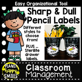 Black and White Polka Dot Sharp and Dull Pencil Labels