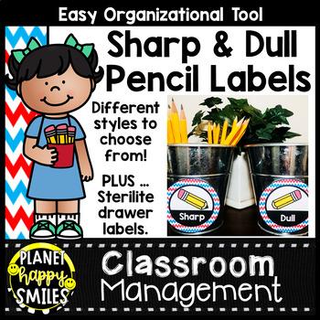 Sharpened & Unsharpened Pencils or Sharp & Broken ~ Red, White & Blue Chevron