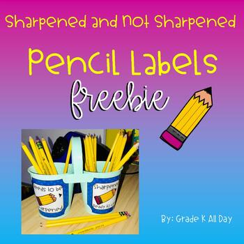 Sharpened and Not Sharpened Pencil Bin Labels