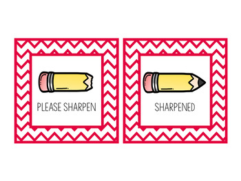 Sharpened and Please Sharpen Pencil Cup Signs