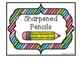 Sharpened and Unsharpened Pencils Signs, Classroom Organization