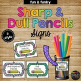 Sharp and Dull Pencil Labels Fun and Funky, Polka Dots and Stripes, Organization