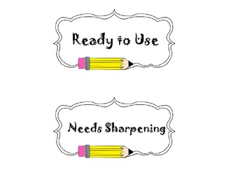Sharpened/Needs Sharpening Pencil Holder Labels