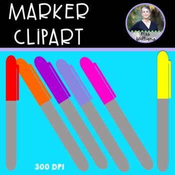 Sharpie Marker Clipart - 15 colors - 300 dpi