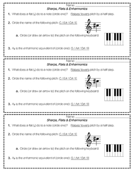 Sharps, Flats, and Enharmonic Notes- Assessment Slips