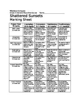 Shattered Sunsets Marking Sheet