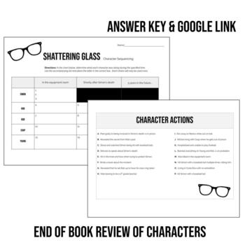 Shattering glass by Gail Giles Character Event Sequencing Worksheet