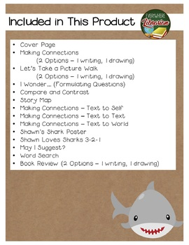 Shawn Loves Sharks by Curtis Manley 13 Book Extension Activities NO PREP