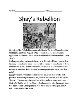 Shay's Rebellion Daniel Shay - lesson facts history information review questions