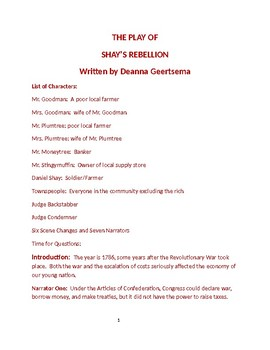 Shay's Rebellion in Reader's Theatre Format