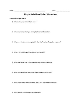 shay s rebellion video worksheet by mrs quigleys classroom spectacular shay s rebellion video worksheet