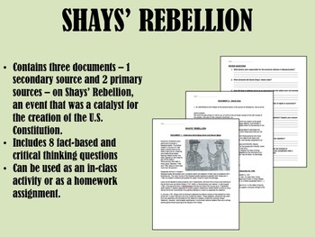 shay s rebellion teaching resources teachers pay teachers  shays rebellion articles of confederation us history apush