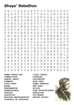 Shays Rebellion Word Search