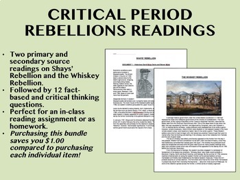 Critical Period Rebellions Reading Bundle - Shays' & Whiskey - US History/APUSH