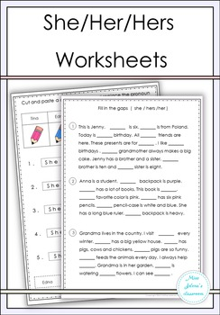 She / Her / Hers Worksheets