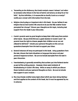 She Said Yes by Misty Bernall  - Essay Choices and Grading Rubric