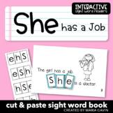"""Interactive Sight Word Reader """"She has a Job"""""""