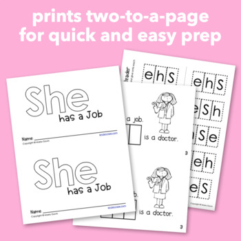 "Interactive Sight Word Reader ""She has a Job"""