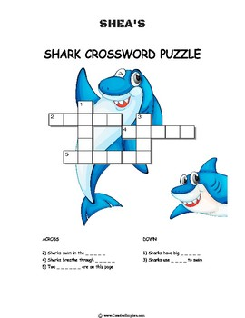 Shea The Shark Easy Word Search Page + Answer page