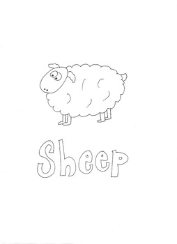 Sheep: Animals and Pets: Colouring Page