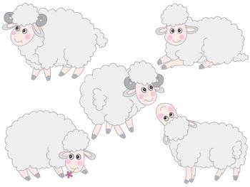 Sheep Clipart - Digital Vector Farm, Animal, Lamb, Baby Lamb, Sheep Clip Art