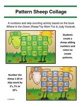 Sheep Collage - Where Is the Green Sheep? Counting, Skip Counting, and Patterns