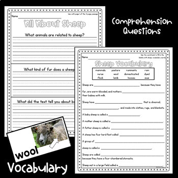 Sheep Nonfiction Guided Reading Comprehension and Fluency Passages