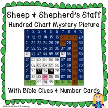 Sheep & Shepherd Staff Christmas Hundred Chart Mystery Picture with Bible Clue