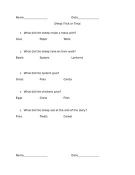 Sheep Trick Or Treat Comprehension - differentiated worksheets