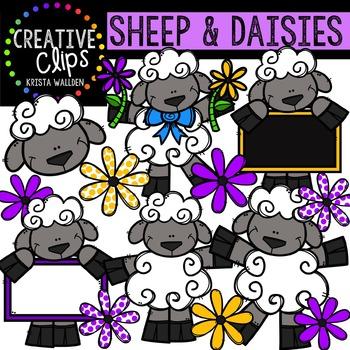 Sheep and Daisies {Creative Clips Digital Clipart}