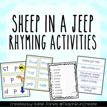Sheep in a Jeep rhyming and long e activities